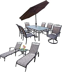 Oakland Living Outdoor Oakland Living Cascade Aluminum 12 Piece Patio Dining Set with Umbrella - 10027T-10605S2C4-L2ET1-4005BN-41CF-12-CF