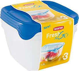 CURVER 207756/ plastica Trasparente//Blu 16/x 16/x 12/cm /3/btes Herm quadrate Fresh N GB 3/x 1.2L