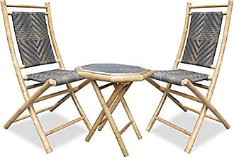 Heather Ann Creations 3-Piece Bamboo Bistro Set with Diamond Weave, Natural and Dark/Light Brown