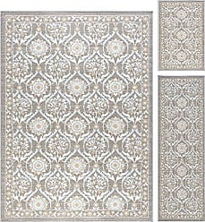 Tayse Robina Transitional Floral Taupe Non-Skid 3-Piece Area Rug Set, 3-Piece Set