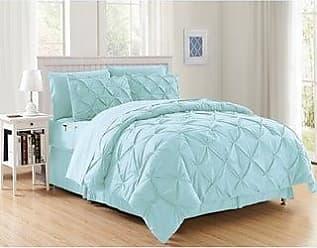 King Misty Blue Pintuck King Misty All Season Luxury Silky Soft Pintuck 3-Piece Comforter Set Elegant Comfort Wrinkle Resistant