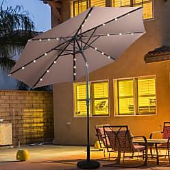 Overstock Costway 10ft Patio Solar Umbrella LED Patio Market Steel Tilt w/ Crank Outdoor (Tan)