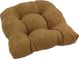 Blazing Needles U Shaped Microsuede Tufted Dining Chair Cushion, 19, Camel