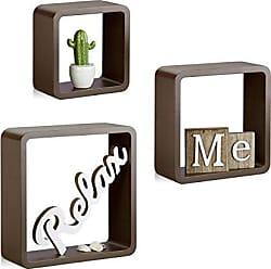 Relaxdays Hängeregal Cube 3er Set, Wandboard Freischwebend, Wandregal Holz,  Quadratisch, Schmal,