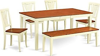 East West Furniture NIAV6-WHI-W 6 Piece Dining Table and 4 Chairs Plus One Bench Set
