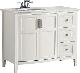 Simpli Home Winston 42 inch Rounded Front Bath Vanity in Off White with Bombay White Engineered Quartz Marble Top