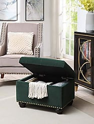 Convenience Concepts 163010FVGN Designs4Comfort 5th Avenue Storage Ottoman, Green Velvet