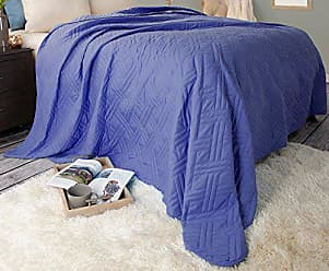 Trademark Global Bedford Home 66A-04196 Solid Color Bed Quilt-Full/Queen-Navy