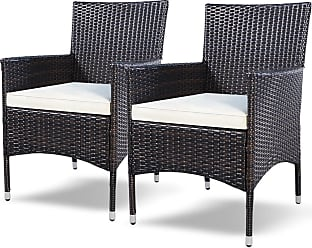 Costway Set of 2 Rattan Patio Cushioned Chairs