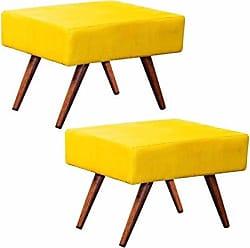 Nay Multicoisas Kit Puff Banqueta Retangular Pés Palito AltoTecido Amarelo