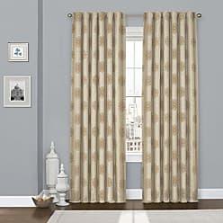 Ellery Homestyles KOZDIKO Eclipse Percy Flock Window Curtain, 52x108, Beige