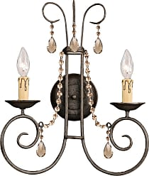 Crystorama 5202-DR-GT-MWP SOHO Natural Wrought Iron Wall Sconce Accented with Golden Teak Hand Cut Crystal