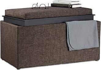 Holzbeine braun Relaxdays Sitzbank mit Stauraum Truhenbank Stoffbezug 1 St/ück H x B x T: 39,5 x 79,5 x 39,5 cm gepolstert
