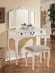Major-Q PXF4094 White Finish Trifold Mirror Wooden Vanity Set with Makeup Desk and Stool