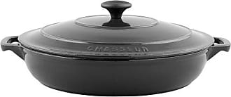 Paderno World Cuisine 3-Quart Rondeau Pan with Lid, Large, Black
