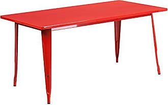 Flash Furniture 31.5 x 63 Rectangular Red Metal Indoor-Outdoor Table
