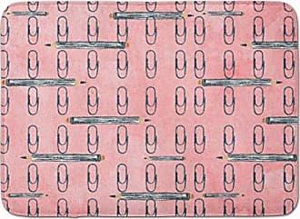 Multicolor 19hx27w Carolines Treasures Gemoetric Circles on Pink Watercolor Floor Mat
