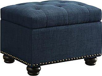 Convenience Concepts Designs4Comfort 5th Avenue Storage Ottoman, Blue