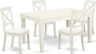 East West Furniture WEBO7-LWH-LC Weston Set Linen White