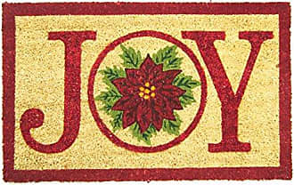 Geo Crafts Vinyl Back Joy Poinsettia Doormat