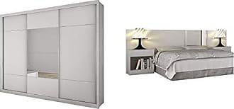 Novo Horizonte Quarto de Casal Completo MadeiraMadeira com Guarda Roupa 3 Portas 3 Portas e Cabeceira com 2 Criados Mudos 400825 Branco