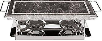 Paderno World Cuisine 41315-04 Dual Burner Stone Grill Set, 17-Inch, Silver