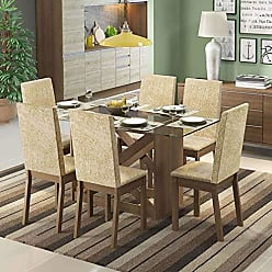 Madesa Conjunto de Mesa com 6 Cadeiras Paola Rustic Suede Imperial