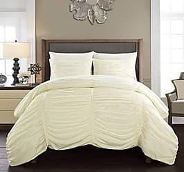 Chic Home Kaiah 2 Piece Comforter Set Contemporary Striped Ruched Ruffled Design Bedding-Decorative Pillow Sham Included/XL, Twin, Beige