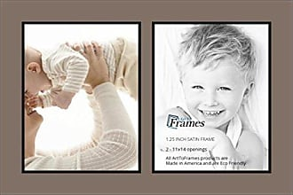 Art to Frames Collage Photo Frame Double Mat with 2 - 11x14 Openings and Satin Black Frame