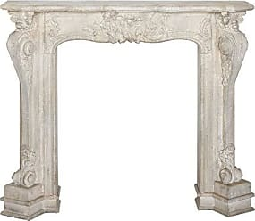 Creative Co-op Decorative Wood Fireplace Mantel with with Distressed Cream Finish, White