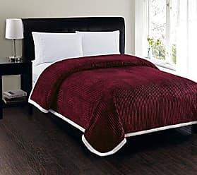 Elegant Comfort Best, Softest, Luxury Micro-Sherpa Blanket on Amazon! Heavy Weight Stripe Design Ultra Plush Blanket, Full/Queen, Burgundy