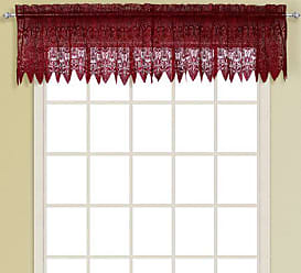United Curtain Valerie Lace Sheer Straight Valance, 52 by 15-Inch, Burgundy