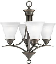 PROGRESS P4326-20 Four-light chandelier in Antique Bronze finish with etched glass