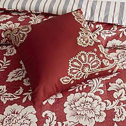 Madison Park Lucy Queen Size Bed Comforter Set Bed in A Bag - Red, Navy, Reversible Floral, Stripes - 9 Pieces Bedding Sets - Cotton Twill, Cotton Poly Blend Reverse Bedroom Comforters