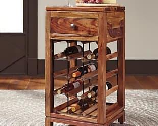 Ashley Furniture Abbonto Wine Cabinet Warm Brown