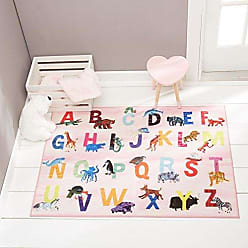 Home Dynamix Eric Carle Elementary Pink Alphabet Area Rug 411x66, Graphic/Print Alphabet Pink/Blue/Yellow