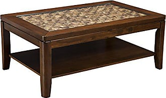 Alpine Furniture 1437-21 Granada Coffee Table with with Glass Insert and Shelf, Brown Merlot