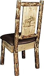 Montana Woodworks Montana Wooodworks Glacier Country Collection Side Dining Chair, Saddle Upholstery, with Laser Engraved Moose Design