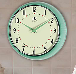 Infinity Instruments Green Round Metal Retro 9.5 in. Wall Clock - 10940-GREEN