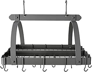 Old Dutch International Rectangular Hanging Pot Rack with Grid & 24 Hooks, Graphite, 30 x 20.5 x 15.75