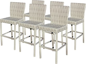 TK Classics 6-piece Fairmont Wicker Barstool Set with Solid Backs (vanilla cr me)