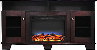 Cambridge Silversmiths CAM6022-1MAHLED Savona 59 In. Electric Fireplace in Mahogany with Entertainment Stand and Multi-Color LED Flame Display