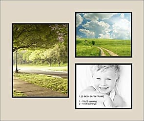 Art to Frames Art to Frames Double-Multimat-1131-844/89-FRBW26079 Collage Photo Frame Double Mat with 1 - 10x13 and 2 - 8x10 Openings and Satin Black Frame