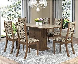Viero Sala de Jantar Mesa Retangular Tampo de MDF Smart 6 Cadeiras Kiara Viero Grigio/Medina/Vidro Bronze