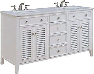 Elegant Lighting Elegant Decor VF-1042 Double Bathroom Vanity Set, 60, White