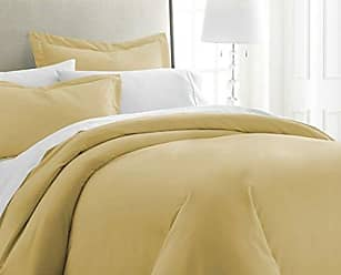 iEnjoy Home Becky Cameron ienjoy Home 3 Piece Double Brushed Microfiber Duvet Cover Set, Twin XL, Gold