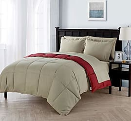 VCNY Home Full Size Complete BED-IN-A-BAG Reversible in Taupe / Red Contrasting Colors 7 Pc Set w/ Sheets