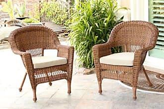 Jeco W00205-C_2-FS006-CS Wicker Chair with Tan Cushion, Set of 2, Honey/W00205