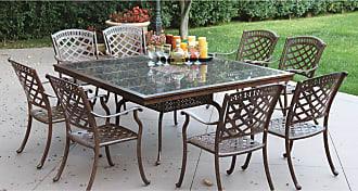 DARLEE Outdoor Darlee Sedona 9 Piece Aluminum Square Granite Top Patio Dining Set - 201030-9PC-77E-AB