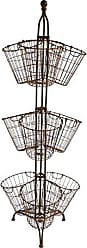 Creative Co-op Creative Co-op Tall Metal Stand with 9 Wire Basket, Rust